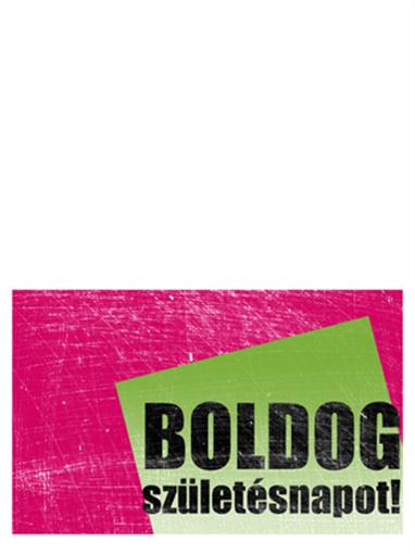 Születésnapi kártya, karcos háttér (rózsaszín és zöld, félbe hajtott)