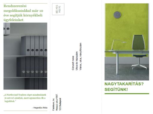 Háromrészes üzleti brosúra (zöld és fekete látványterv)