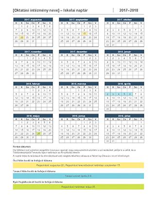 2017–2018-as iskolai naptár