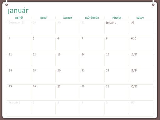 2018-as naptár (hétfő–vasárnap, kétgyűrűs arculat)
