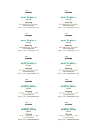 Névjegykártyák – vízszintes elrendezés emblémával (10 db/oldal)