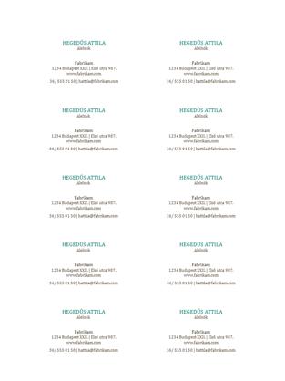 Névjegykártyák – vízszintes elrendezés embléma nélkül (10 db/oldal)