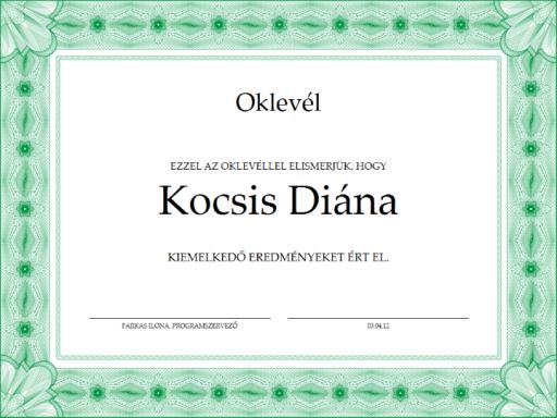 Oklevél (zöld)