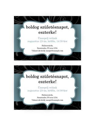 Társasági meghívók (kék szalagos téma, 2 db/oldal)