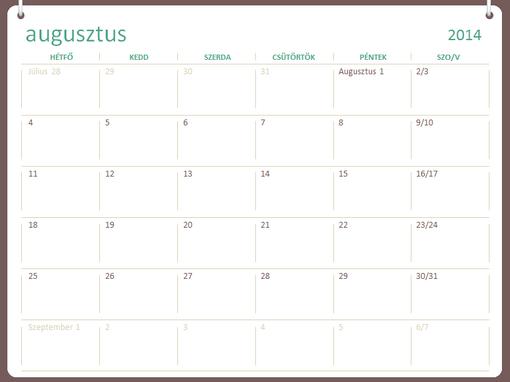 2014–2015-ös iskolai naptár (augusztus–július)