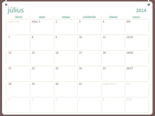 2014–2015-ös iskolai naptár (július–június)