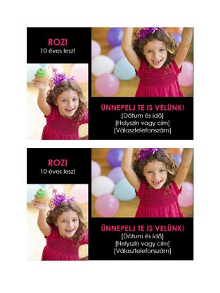 Születésnapi meghívó képeslap