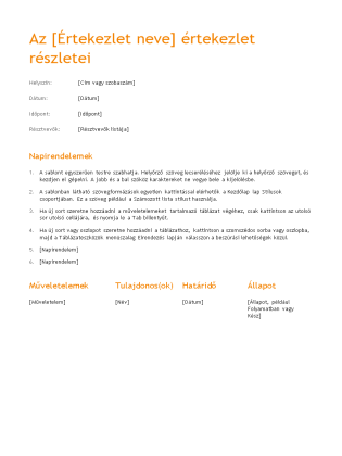 Értekezleti jegyzőkönyv (narancsos látványterv)