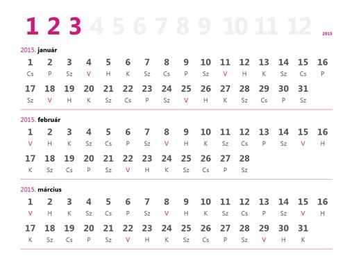 2015. évi negyedéves naptár