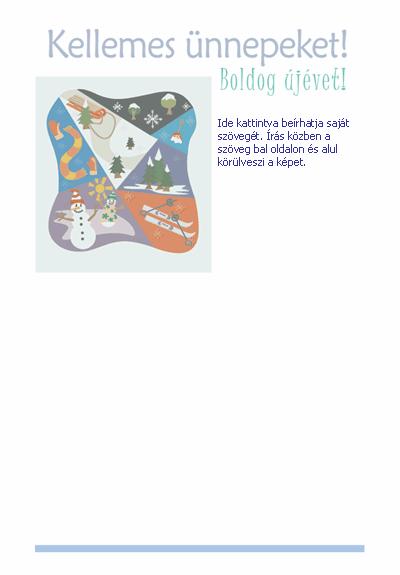 Levélpapír (téli sportjelenettel)