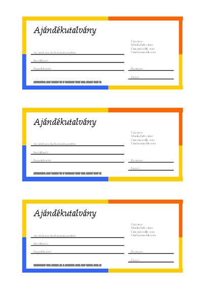 Ajándékutalvány (többszínű szegély, 3 darab)