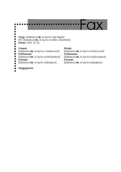 Fedőlap személyes faxhoz