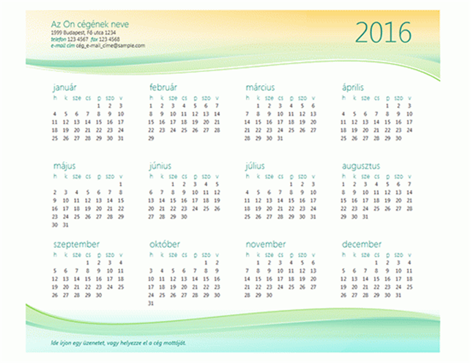 Kisvállalati naptár (tetszőleges évre)