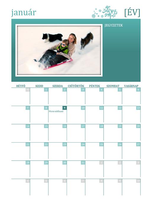 Szezonális családi naptár (bármelyik év, H–V)