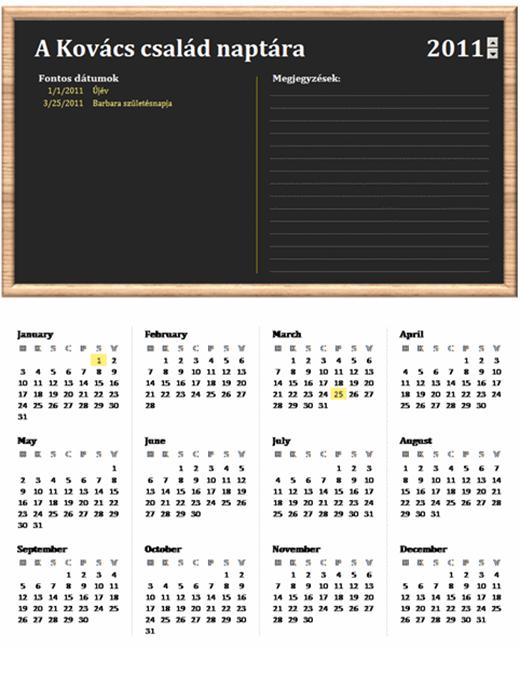 Családi naptár (bármelyik év, H–V)