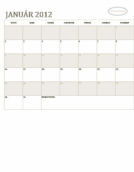 Kisvállalati üzleti naptár (bármelyik év, H–V)