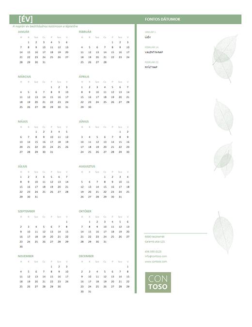 Kisvállalati naptár (tetszőleges év, hétfő-vasárnap)