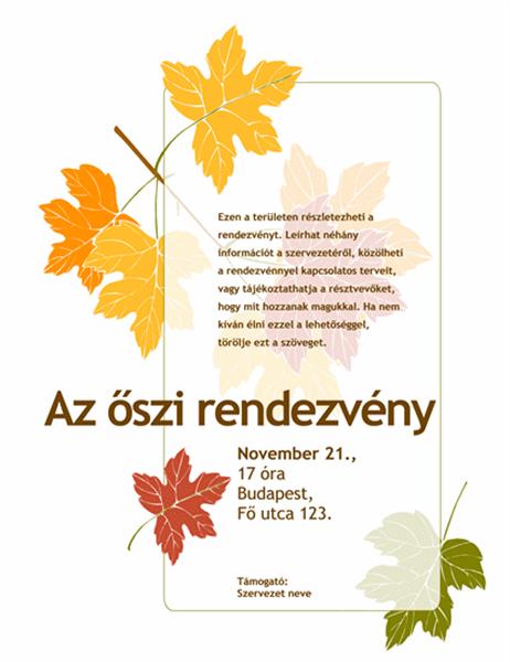 Szórólap őszi rendezvényhez (leveles mintázattal)
