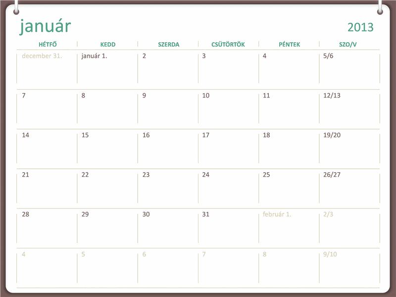 2013-as naptár kétgyűrűs megjelenéssel (hétfő–vasárnap)