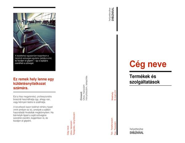 Háromrészes formátumú brosúra (Piros-fekete)
