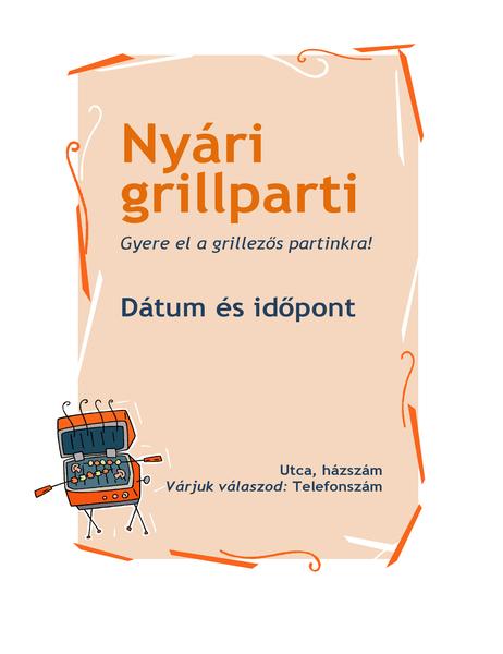 Meghívó kerti grillpartira – szórólap