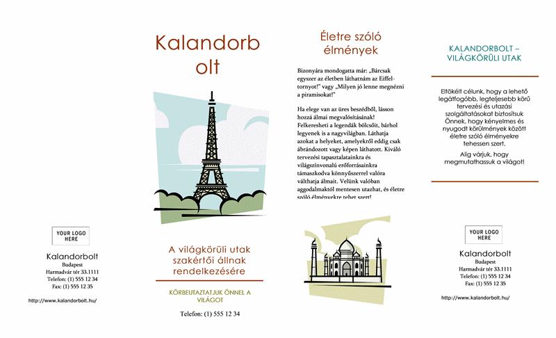 Utazási brosúra (8 1/2 x 14, fekvő, négyoldalas)