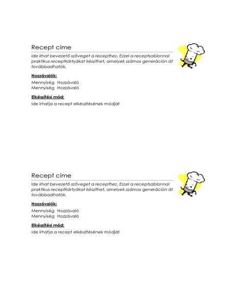 Receptkártya (oldalanként 2)