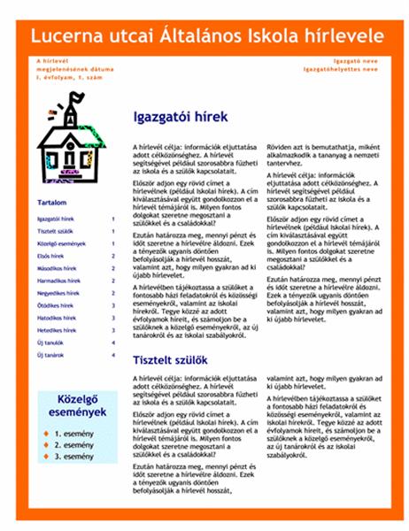 Iskolai hírlevél (3 hasáb, 4 oldal)