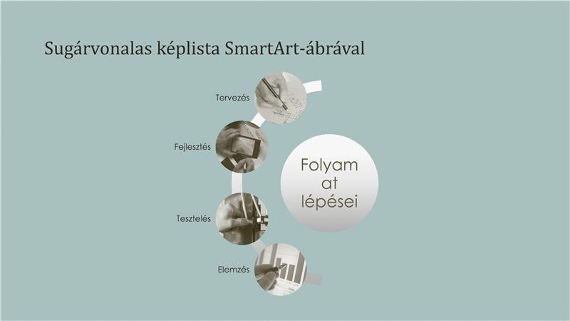 Folyamatot megjelenítő SmartArt-ábra sugárirányban elhelyezett képekkel (szélesvásznú)