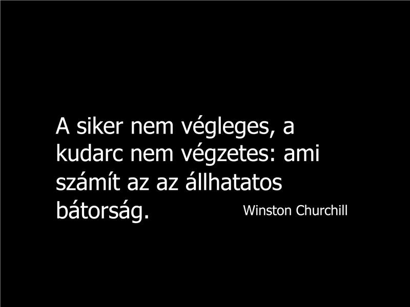 Winston Churchill-idézetet tartalmazó dia