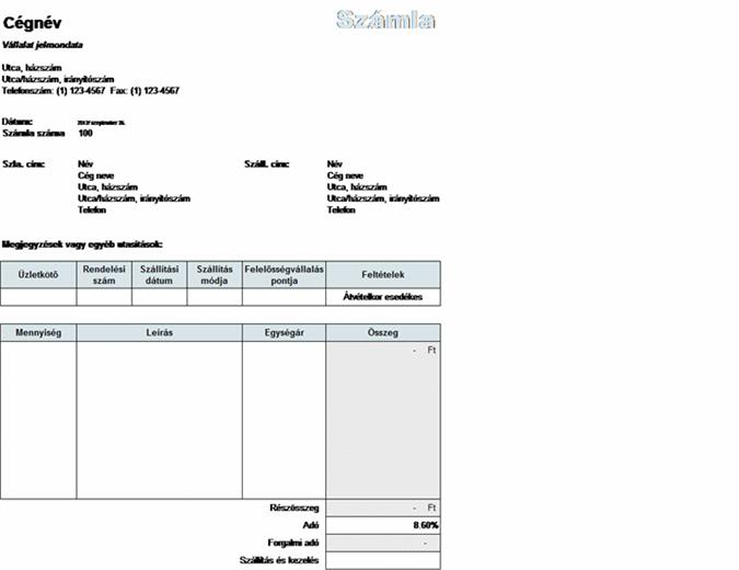 Eladási számla szállítási, kezelési és adószámításokkal