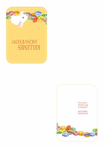 Húsvéti üdvözlőlap (nyuszival és egy kosár tojással)