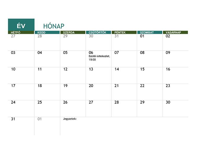 Iskolai naptár (bármely év)