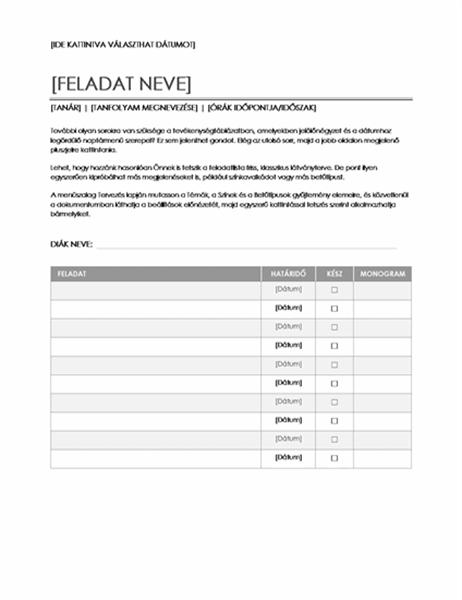 Feladat-kiosztási lap