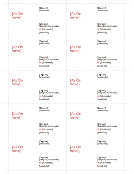 Névjegykártyák (Vörös arculat, 10 db/oldal)