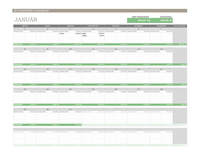 Tetszőleges évi kiadási naptár