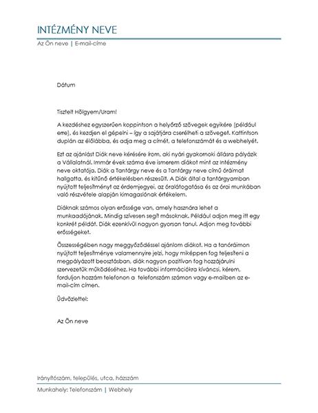 Oktató által írt ajánlólevél