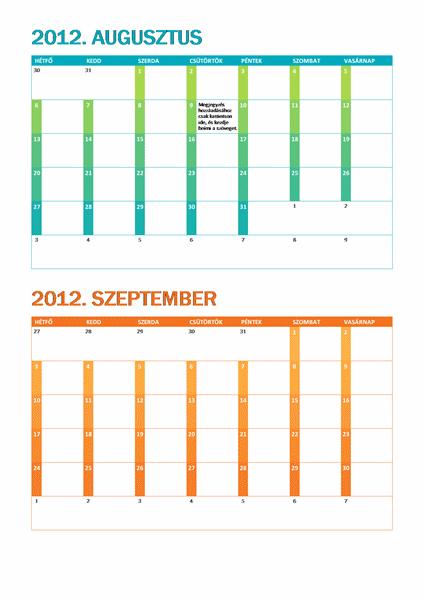 Iskolai naptár (hétfő–vasárnap)