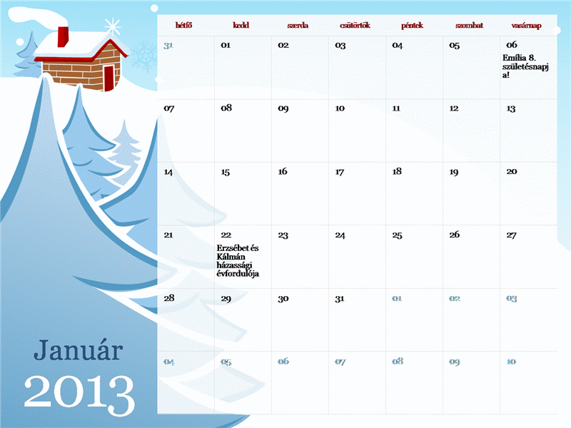 2013-as illusztrált évszakos naptár (hétfő–vasárnap)
