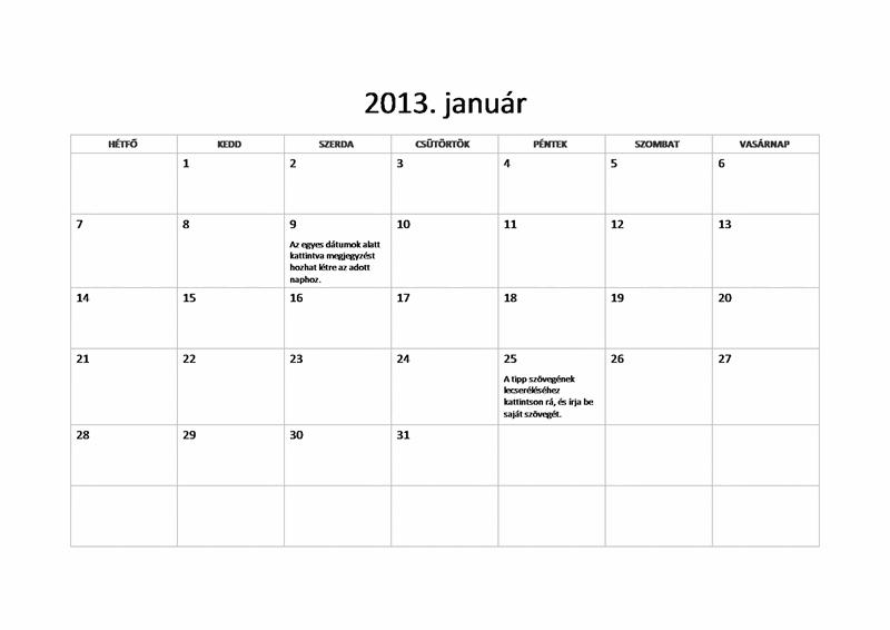 2013-as egyszerű naptár (hétfő-vasárnap)