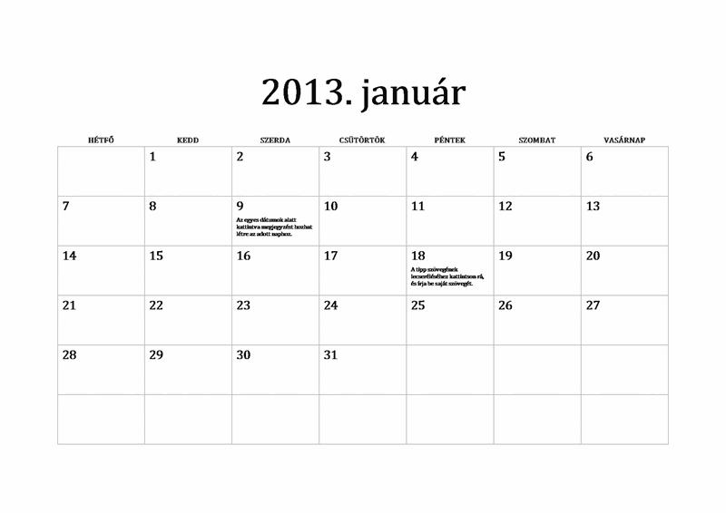 2013-as klasszikus naptár (hétfő-vasárnap)