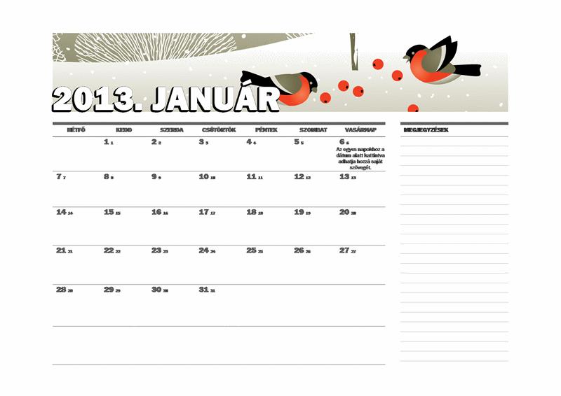 2013-as julián naptár (hétfő-vasárnap)