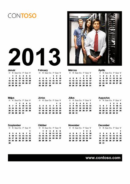 2013-as üzleti naptár (hétfő-vasárnap)