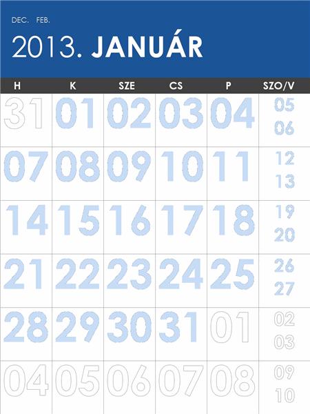 2013-2014-es színes naptár (hétfővel kezdődő hetekkel)