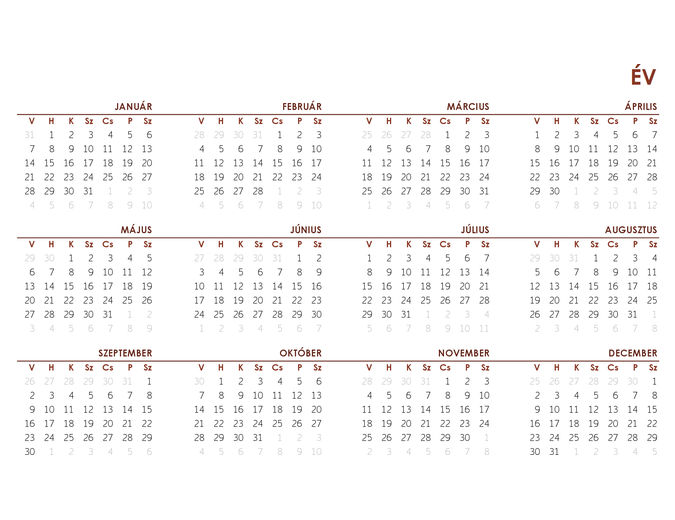 Teljes évi globális naptár