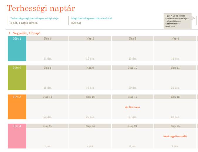 Terhességi naptár