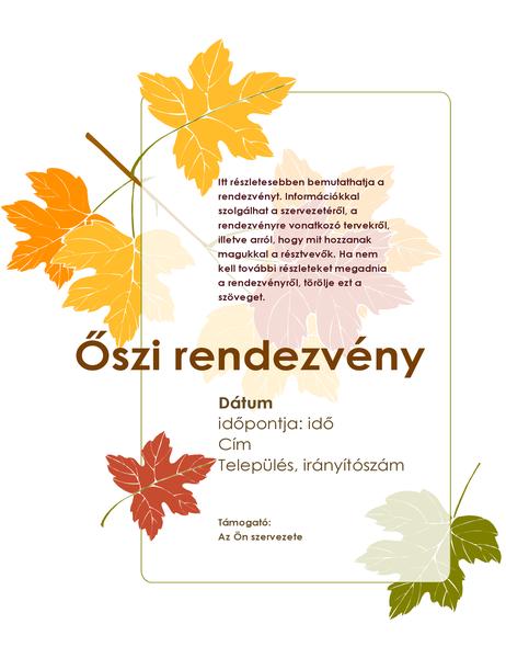 Őszi esemény szórólapja (levelekkel)