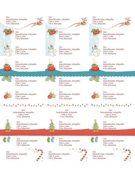 Címcímkék (karácsonyi hangulat látványelem, laponként 30, Avery 5160 kódú papírhoz)
