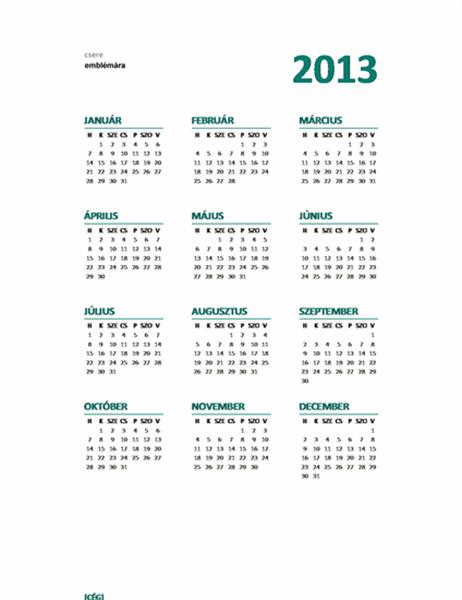 2013. évi egylapos naptár (kezdő nap: hétfő)