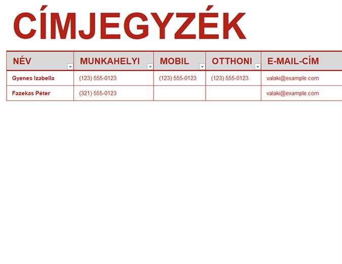 Személyes címjegyzék
